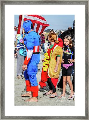 Captain America And The Armour Hotdog Framed Print by Yvette Wilson