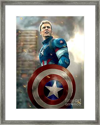 Captain America - No Helmet Framed Print by Paul Tagliamonte