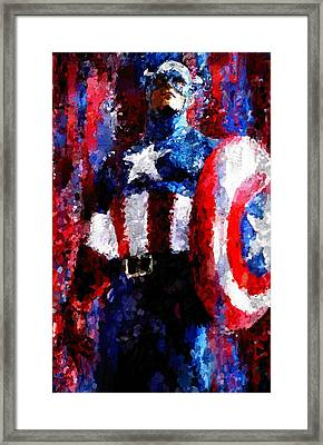 Captain America Signed Prints Available At Laartwork.com Coupon Code Kodak Framed Print by Leon Jimenez