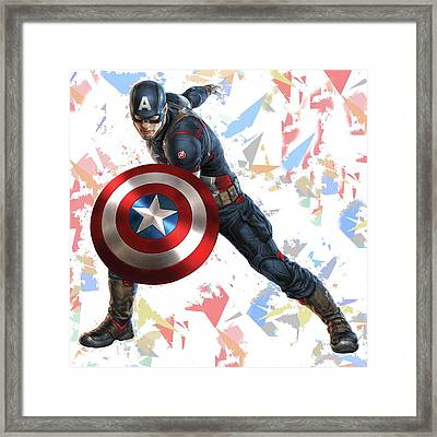 Framed Print featuring the mixed media Captain America Splash Super Hero Series by Movie Poster Prints