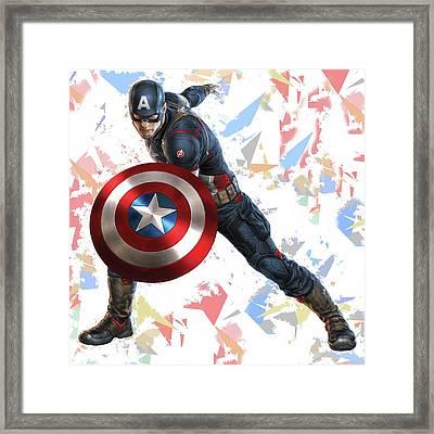 Captain America Splash Super Hero Series Framed Print by Movie Poster Prints