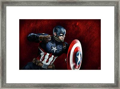 Captain America Framed Print by Vinny John Usuriello