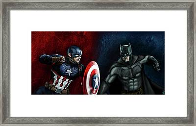 Captain America Vs Batman Framed Print