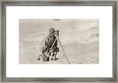 Captain Evans Observing With The Framed Print by Vintage Design Pics