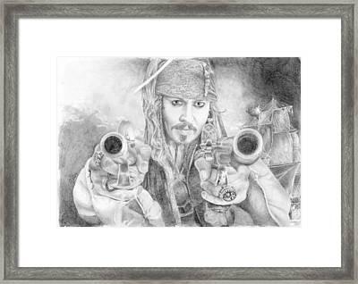 Captain Jack Sparrow And The Black Pearl Framed Print