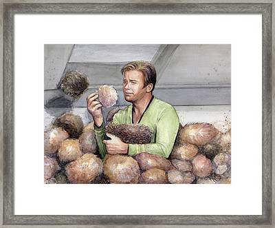 Captain Kirk And Tribbles Framed Print by Olga Shvartsur