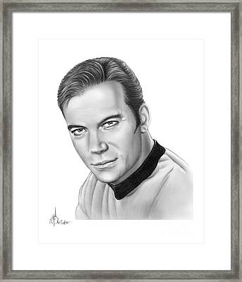 Captain Kirk- William Shatner Framed Print by Murphy Elliott