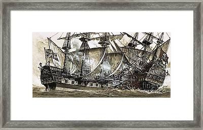 Captain Maynard's Sloop Bore Down On The Pirate Ship Framed Print by Clive Uptton