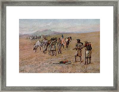Captain Meriwether Lewis With Drewyer And Shield Meeting The Indians Framed Print by Charles Marion Russell