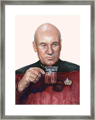 Captain Picard Star Trek Tea. Earl Grey. Hot. Framed Print by Olga Shvartsur