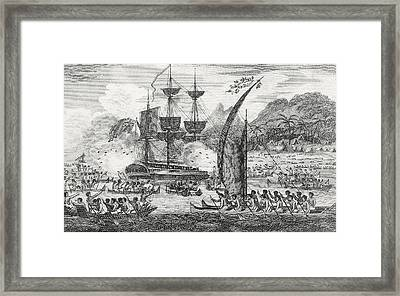 Captain Wallis Attacked By The Indians, 1767  Framed Print by English School