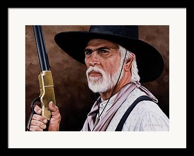 Westerns Drawings Framed Prints