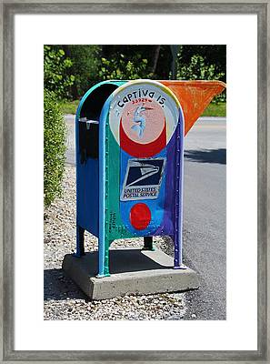 Framed Print featuring the photograph Captiva Island Mailbox- Vertical by Michiale Schneider