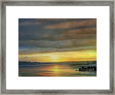 Captivating Sunset Over The Harbor Framed Print by Judy Palkimas