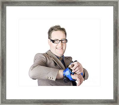Captive Businessman Trying To Escape Framed Print