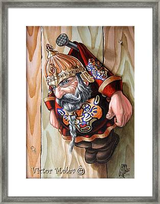 Captive Dwarf In Tiger Suit Framed Print