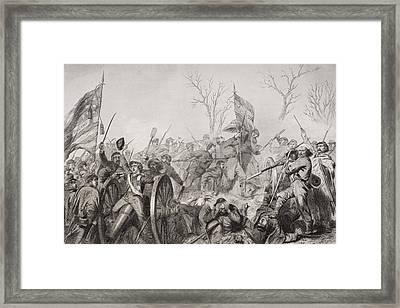 Capture Of A Confederate Flag At Battle Framed Print by Vintage Design Pics