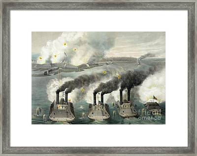 Capture Of Fort Henry By Us Gun Boats Under The Command Of Flag Officer Foote Framed Print by American School