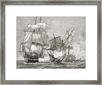 Capture Of The Guerriere By The Constitution Framed Print by American School
