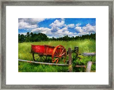 Car - Wagon - The Old Wagon Cart Framed Print by Mike Savad
