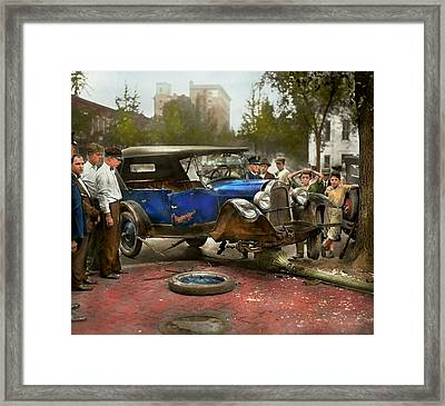 Car Accident - It Came Out Of Nowhere 1926 Framed Print by Mike Savad