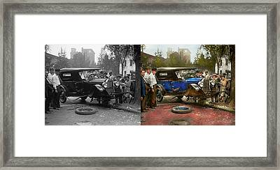 Car Accident - It Came Out Of Nowhere 1926 - Side By Side Framed Print by Mike Savad