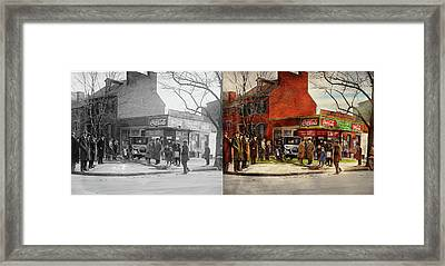 Framed Print featuring the photograph Car - Accident - Looking Out For Number One 1921 - Side By Side by Mike Savad