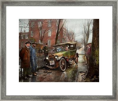 Car Accident - Watch For Ice 1921 Framed Print by Mike Savad