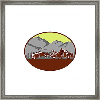Car Being Towed Away Mountains Oval Woodcut Framed Print