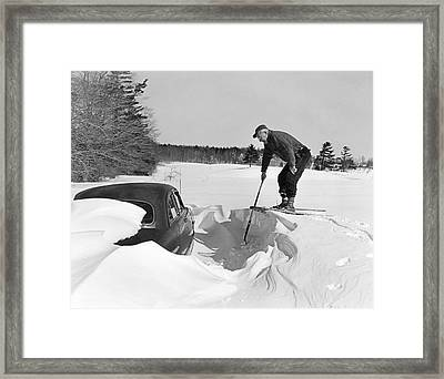 Car Buried In Snow Framed Print by Underwood Archives
