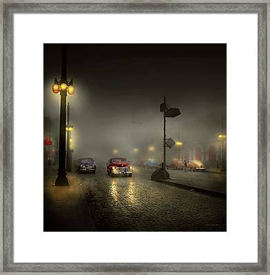 Framed Print featuring the photograph Car - Down A Lonely Road 1940 by Mike Savad