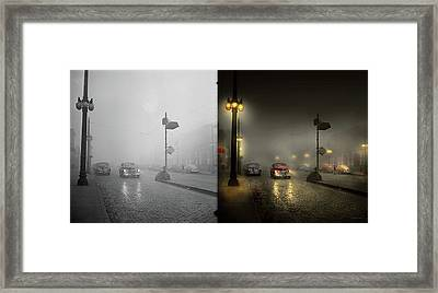 Framed Print featuring the photograph Car - Down A Lonely Road 1940 - Side By Side by Mike Savad