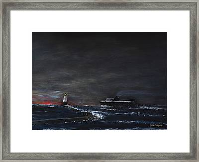 Car Ferry Badger November Crossing Framed Print by Dick Bourgault