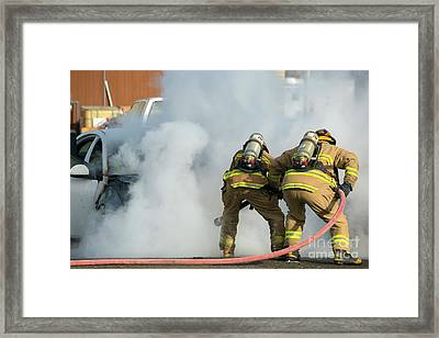Car Fire Framed Print by Mike Dawson