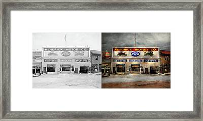 Framed Print featuring the photograph Car - Garage - Hendricks Motor Co 1928 - Side By Side by Mike Savad