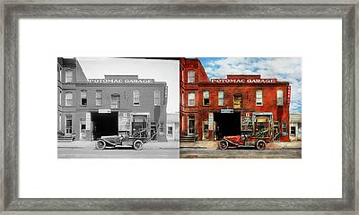 Framed Print featuring the photograph Car - Garage - Misfit Garage 1922 - Side By Side by Mike Savad