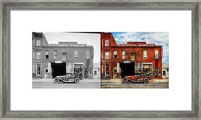Car - Garage - Misfit Garage 1922 - Side By Side Framed Print by Mike Savad