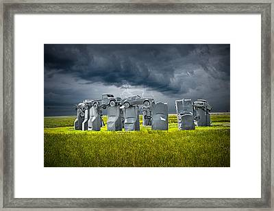 Car Henge In Alliance Nebraska After England's Stonehenge Framed Print by Randall Nyhof