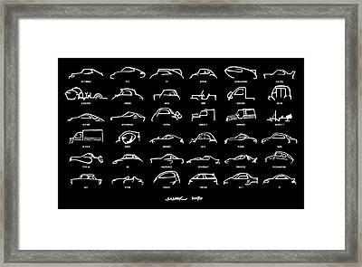 Car Icons Black Framed Print