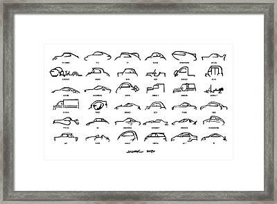 Car Icons White Framed Print