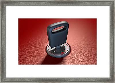 Car Key In Ignition Framed Print
