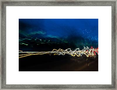 Car Light Trails At Dusk In City Framed Print