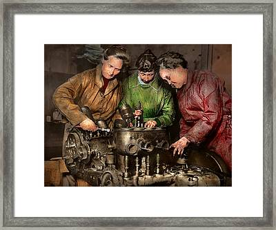 Car Mechanic - In A Mothers Care 1900 Framed Print