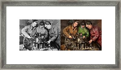 Car Mechanic - In A Mothers Care 1900 - Side By Side Framed Print