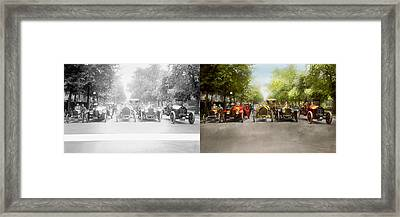 Car - Race - Hold On To Your Hats 1915 - Side By Side Framed Print by Mike Savad