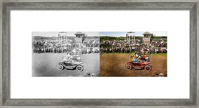 Car - Race - On The Edge Of Their Seats 1915 - Side By Side Framed Print