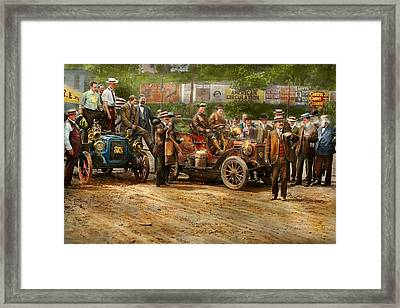 Car - Race - The End Of A Long Journey 1906 Framed Print by Mike Savad