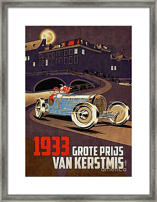 Car Racing Christmas Poster Of The 30s Framed Print