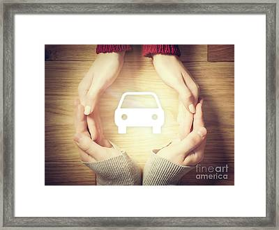 Car Symbol Inside Hands Circle. Concept Of Car Insurance Framed Print by Michal Bednarek