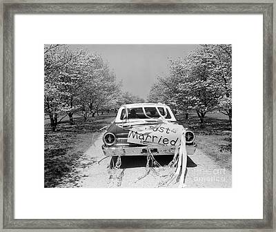 Car With Just Married Sign, C.1960s Framed Print by H. Armstrong Roberts/ClassicStock